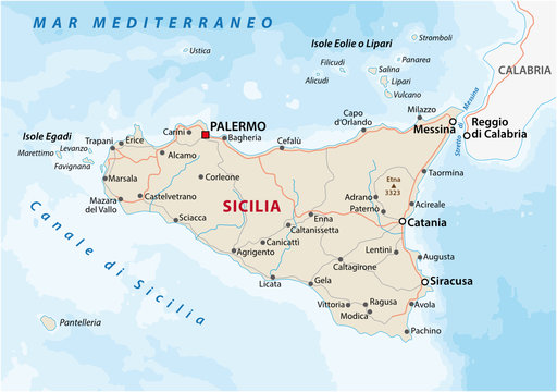 Road map of the italian mediterranean island Sicily
