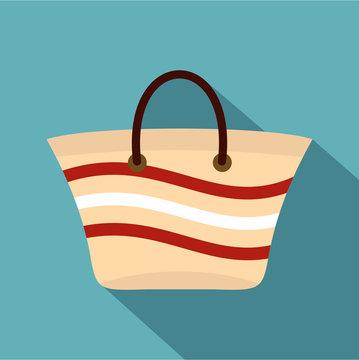 Women beach bag icon. Flat illustration of women beach bag vector icon for web