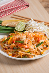 "Thai Fried Noodles ""Pad Thai"" with shrimp and vegetables."