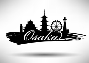 Vector Graphic Design of Osaka City Skyline