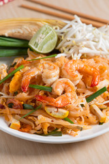 "Close up, Thai Fried Noodles ""Pad Thai"" with shrimp and vegetabl"