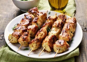 Chicken kebab on plate