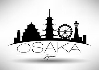 Vector Graphic Design of Osaka City Skyline