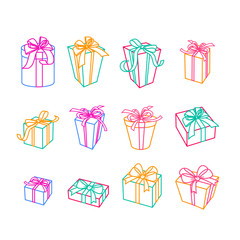 Set of vector outline gift icons. Multicolor boxes with ribbons, isolated illustration. Trendy design elements for holiday greeting card, gift shop, voucher, flyer, banner.