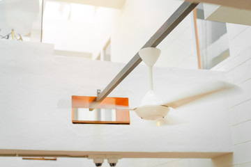 Geometry and design. Modern white interior fan.