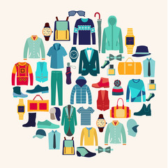 Vector set icon of Fashion collection of man wardrobe.