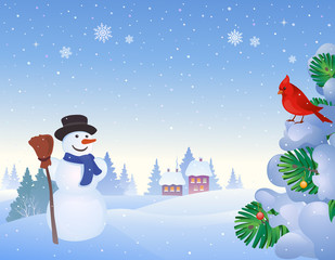 Snowman and cardinal background