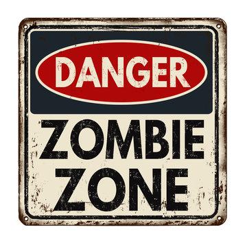 Danger zombie zone vintage metal sign