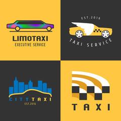 Taxi, cab set of vector logo, icon
