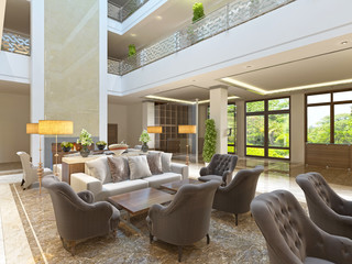 The interior design of the lounge area with a fireplace.