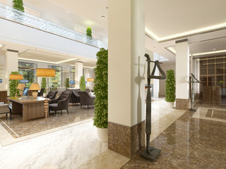 Modern design lobby with reception.