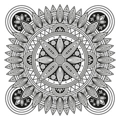 Hindu mandala pattern. Oriental decorative medallion. Ethnic ornament for mural art prints, mehndi style mandala tattoos, boho flourishes & embellishments. Coloring book pages mandala illustration.