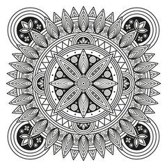 Hindu mandala pattern. Oriental decorative medallion. Ethnic ornament for mural art prints, mehndi style mandala tattoos, boho flourishes & embellishments. Coloring book pages mandala illustration.