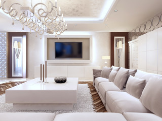 Modern living room in white colors with integrated storage for t