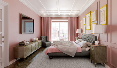 Master bedroom with modern design with pink and brown. 3d illust