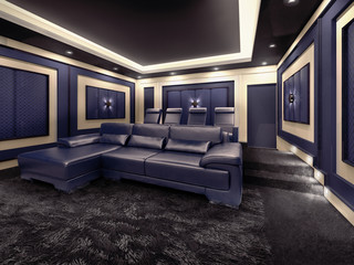 Modern private home cinema system with beamer and canvas and man