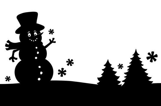 Snowman silhouette theme image 1
