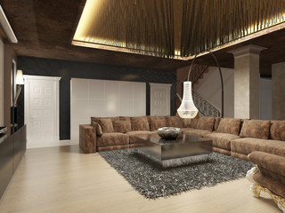 Luxury modern living room done in the art Deco style.
