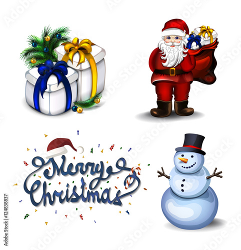 Happy New Year and Merry Christmas greeting card border with set of ...