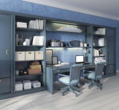 Children's furniture storage system with two built-in desks.