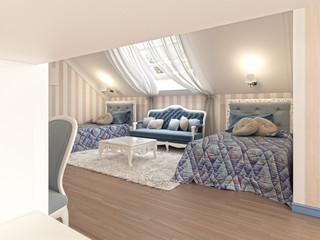 Luxury children's bedroom for two kids with twin beds.