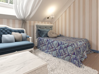 Children's bed in a children's classic with a soft blue blanket