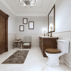 Bathroom in modern style with sink bath and toilet with a comfor