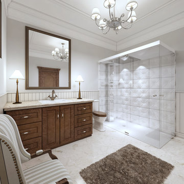 Bright bathroom in the English style with large glass shower.