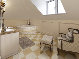 Big louge chair in the bathroom in Provence style in the attic w
