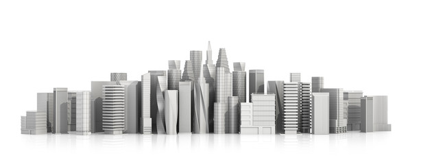 3d city isolated on a white background. 3d illustration