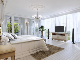 Large bedroom with panoramic Windows and beautiful views.