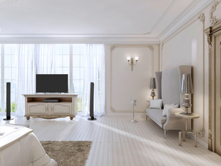Luxurious bedroom with a large sofa and TV unit the large window