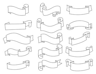 Set of clean vintage hand drawn ribbons, isolated on white background. Vector illustration