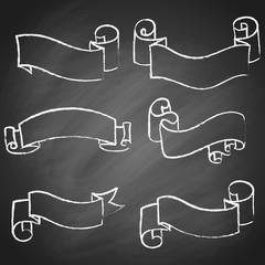 Set of vintage hand drawn ribbons, isolated on black chalkboard background. Vector illustration