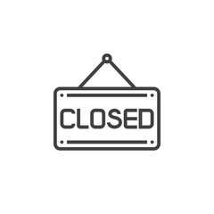 Closed Sign Door Plate line icon, outline vector symbol, linear pictogram isolated on white. logo illustration
