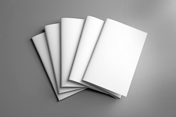 Blank brochures on grey background