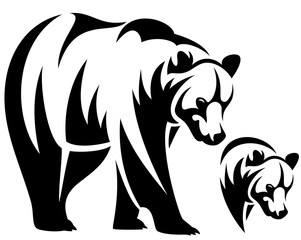 bear emblem black and white vector design