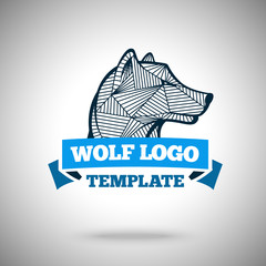 Vector wolf logo template for sport teams, business etc