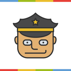 Police officer color icon. Vector illustration