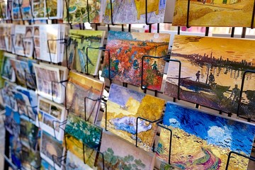 Postcards in a shop. Postcards of Van Gogh paintings in a shop, Arles, France