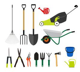 Garden Tools, Instruments Flat Icon Collection Set. Shovel, buck