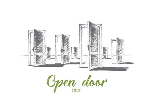 Vector hand drawn open doors concept sketch. Many open doors meaning problem of right choice and new opportunities. Lettering Open door concept