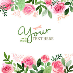 Watercolor floral background with roses