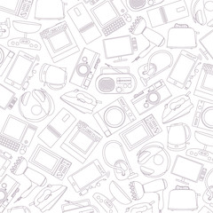 vector pattern of home electronic appliances
