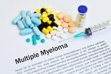 Drugs for multiple myeloma treatment, medical concept