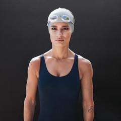 Female fitness model in swimsuit