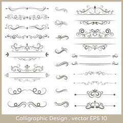 Set of calligraphic vintage vector ornaments with dashes and dividers.