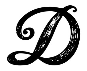 Letter D. Calligraphy alphabet typeset lettering. Hand drawn alphabet. Capital and lower-case letters. Copy-book hand font. Hand drawn sketch of ABC letters in old fashion vintage style.