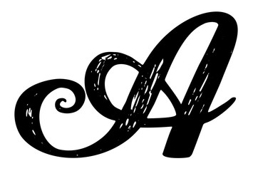 Letter A Calligraphy Alphabet Typeset Lettering Hand Drawn Capital And Lower