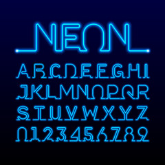 One thin line neon tube font. Alphabet and numbers.